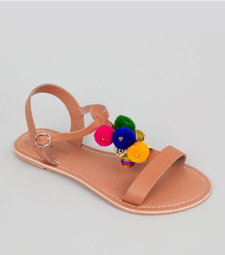 Tan Multi Coloured Pom Pom Tassel Sandals | New Look