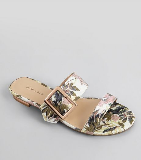 Pink Tropical Print Metal Trim Mules | New Look