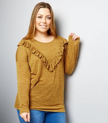 Curves Yellow Frill Trim Top