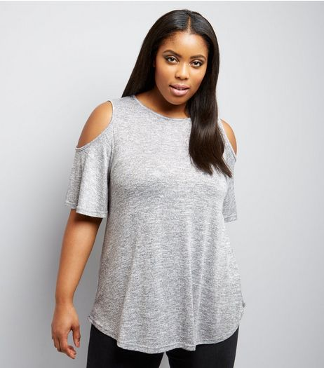 Curves Grey Fine Knit Cold Shoulder Flutter Sleeve Top | New Look