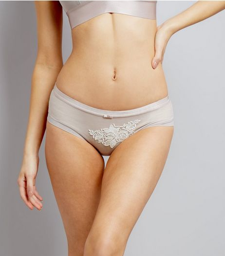 Grey Embroidered Lace Patch Short Briefs | New Look