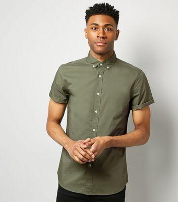 Green Washed Cotton Short Sleeve Shirt