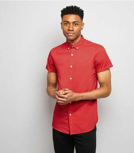 Red Washed Cotton Short Sleeve Shirt | New Look