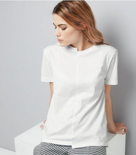 White Short Sleeve Spliced T-Shirt  | New Look