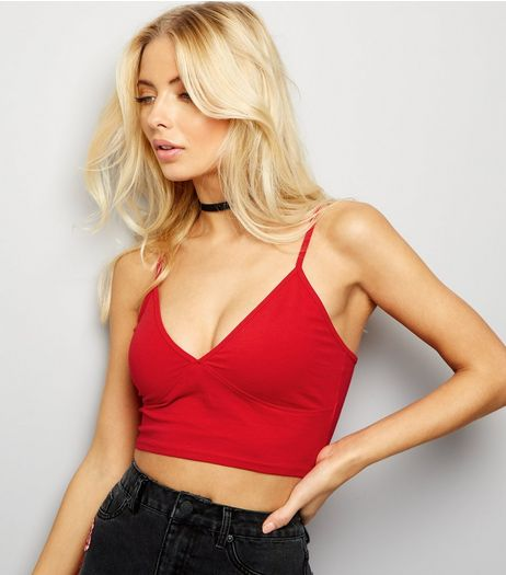 Red V Neck Shoestring Strap Bralet  | New Look
