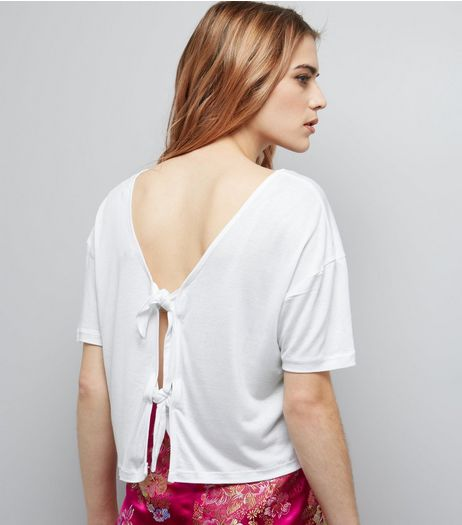 White Tie Back Short Sleeve T-Shirt  | New Look