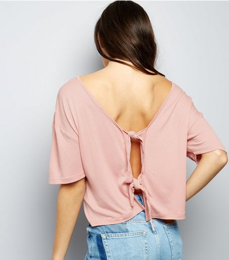 Deep Pink Tie Back Short Sleeve T-Shirt  | New Look