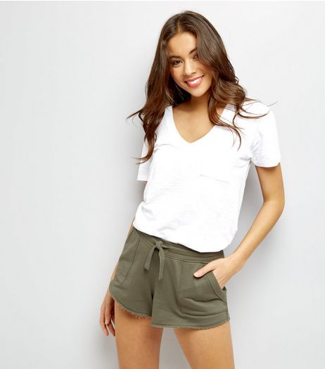 Khaki Double Pocket Jersey Shorts | New Look
