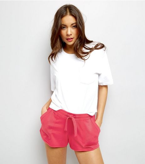Bright Pink Tie Waist Shorts  | New Look