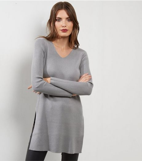 Apricot Pale Grey Ribbed Split Side Jumper  | New Look