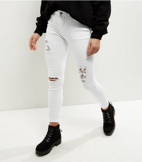 Petite White Ripped Skinny Jeans | New Look