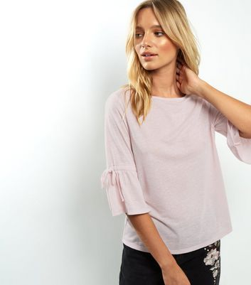 Pink Tie Cuff Bell Sleeve Top