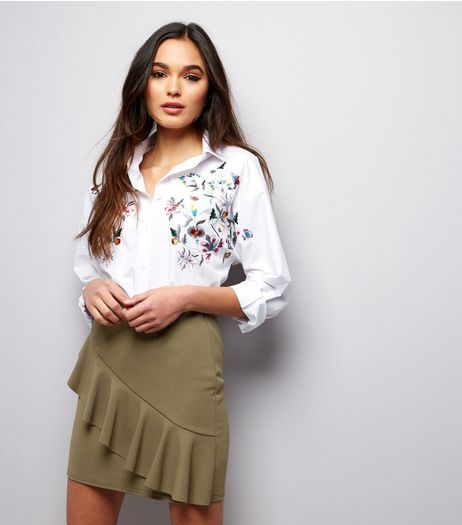 Khaki Frill Trim Scuba Mini Skirt  | New Look
