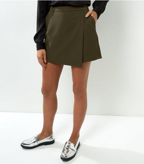 Khaki Wrap Front Skort | New Look