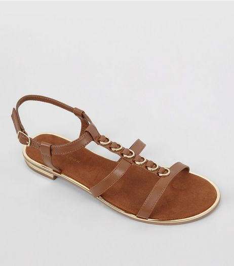 Tan Leather-Look Metal Ring Trim Sandals  | New Look