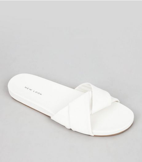 White Twist Strap Mules | New Look