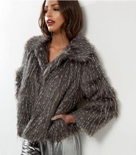 Mela Grey Faux Fur Speckled Jacket | New Look