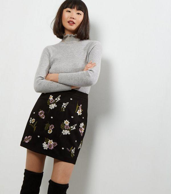 Black Floral Embroidered Mini Skirt