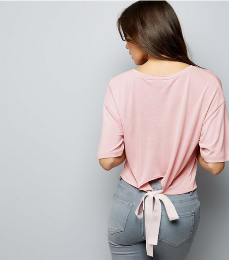 Pink Tie Back Short Sleeve T-Shirt  | New Look