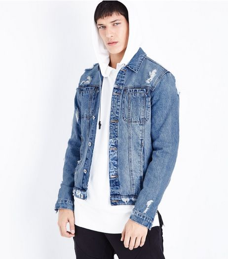 Blue Ripped Zip Sleeve Denim Jacket | New Look