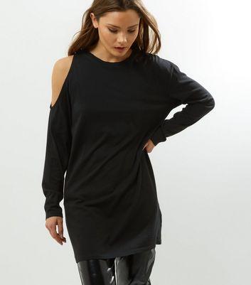 Black Asymmetric Cold Shoulder Tunic