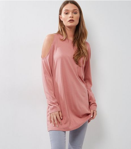 Deep Pink Single Cold Shoulder Long Sleeve Tunic  | New Look