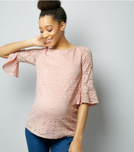 Maternity Shell Pink Lace Bell Sleeve Top | New Look