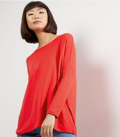 Red Long Sleeve Jumper  | New Look