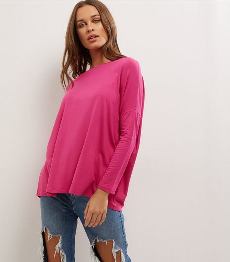 Bright Pink Long Sleeve Jumper  | New Look