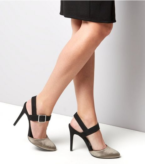 Wide Fit Khaki Velvet Court Shoes | New Look
