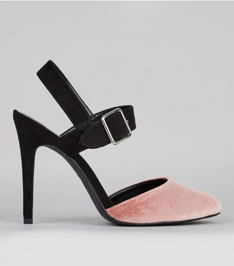 Wide Fit Pink Velvet Contrast Strap Court Shoes | New Look