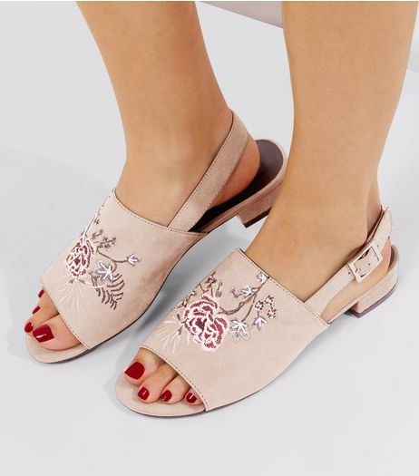 Wide Fit Nude Pink Floral Embroidered Mules  | New Look