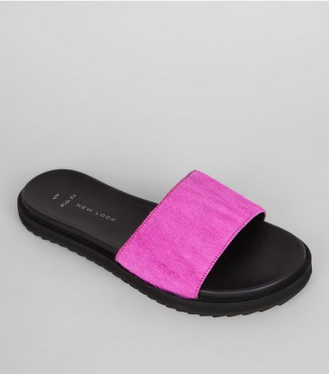 Wide Fit Bright Pink Leather Faux Fur Sliders | New Look