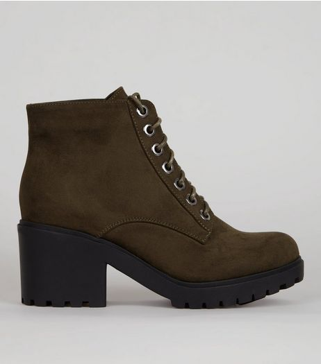 Teens Khaki Lace Up Chunky Boots | New Look