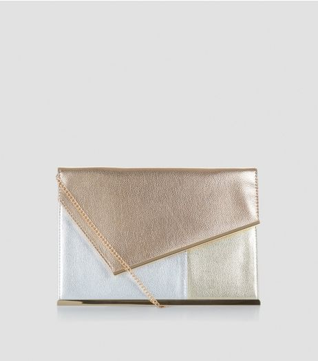 Rose Gold Metallic Envelope Clutch | New Look