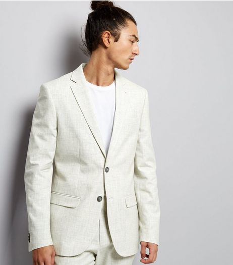 Off White Cross Hatch Slim Fit Blazer | New Look