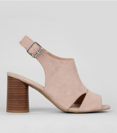 Wide Fit Nude Cut Out Front Peep Toe Sandals | New Look