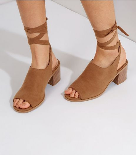 Wide Fit Tan Suedette Tie Up Block Heels | New Look