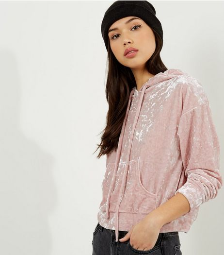 Shell Pink Velvet Cropped Hoodie  | New Look