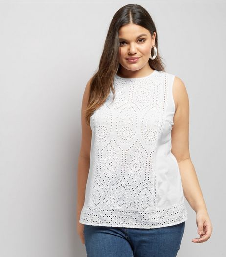 Curves White Broderie Lace Sleeveless Top | New Look
