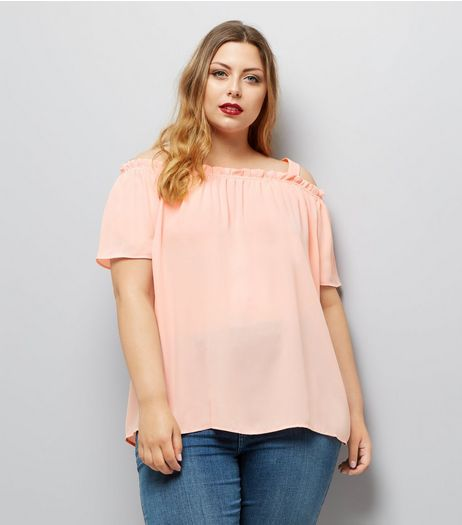 Curves Shell Pink Frill Trim Cold Shoulder Bardot Neck Top | New Look