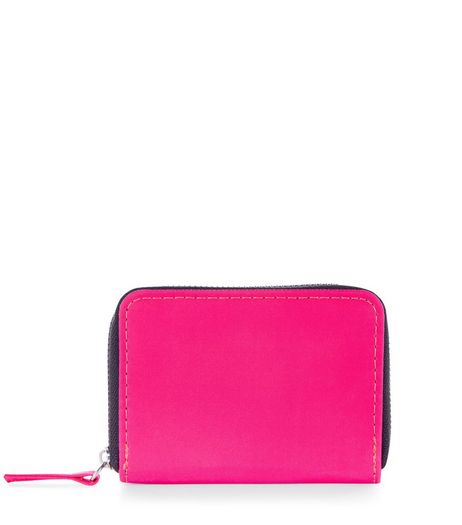 Bright Pink Mini Zip Around Cardholder | New Look