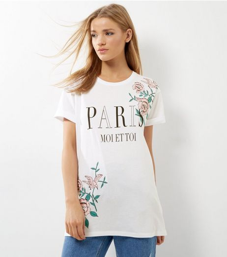 White Paris Print Oversized T-Shirt | New Look