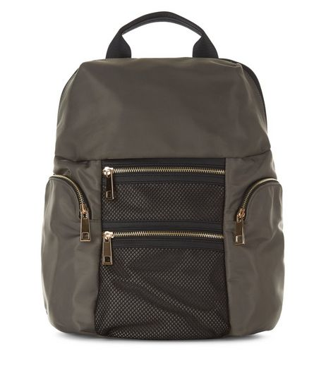 Khaki Double Pocket Front Backpack | New Look