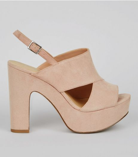 Wide Fit Nude Cut Out Side Platform Heels | New Look