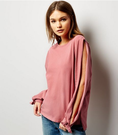 Deep Pink Split Tie Sleeve Top  | New Look