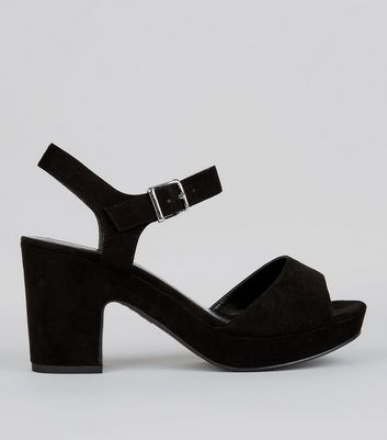 Wide Fit Black Ankle Strap Heels | New Look