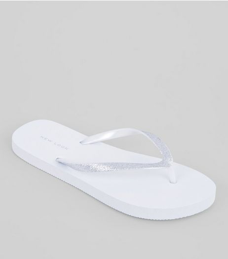 White Glitter Strap Flip Flops | New Look