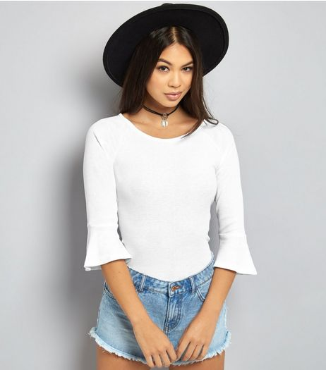 White Flared Sleeve Fitted Top | New Look
