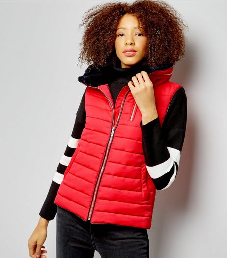 Red Fitted Padded Gilet  | New Look